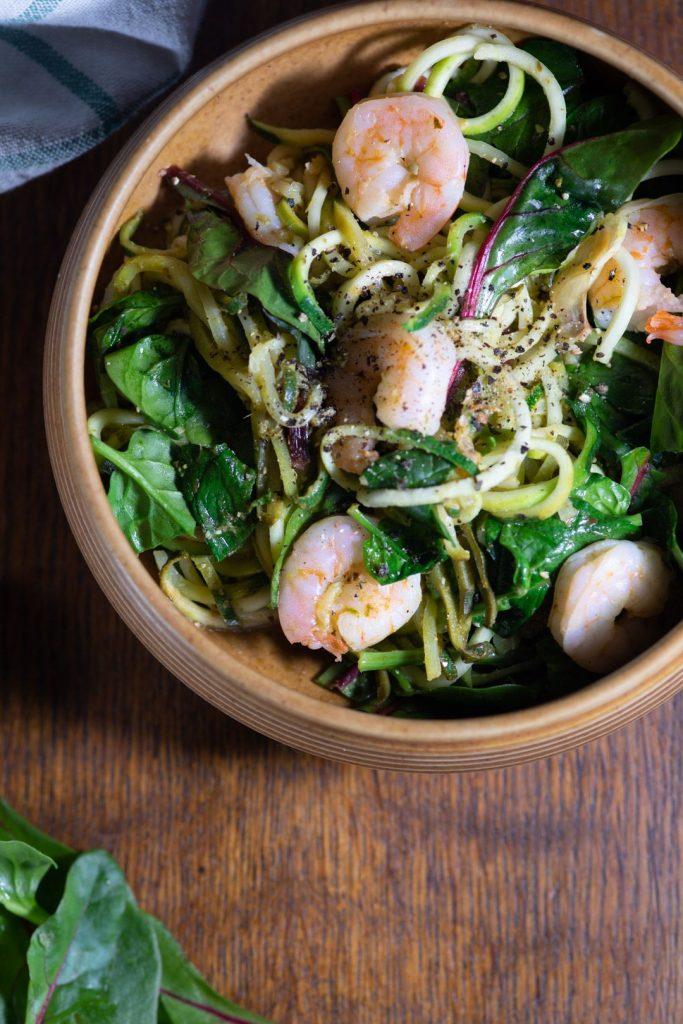 Prawn courgetti spaghetti summer salad